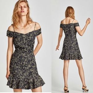ZARA FLORAL PRINT DRESS WITH EXPOSED SHOULDERS